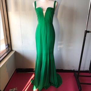 GB deep V green gown